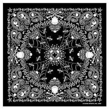 "Black Paisley Skull Bandana measures 21""x21"" Motorcycle BIKER Doo Rag BAN-0005"