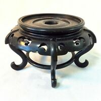 """CHINESE CARVED WOOD PEDESTAL STAND BLACK RND 4.5"""" OUTER DIAM FOR 3.5""""-3.65"""" VASE"""