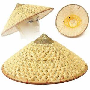 Cone Sun Hat Vietnamese Japanese Coolie Straw Bamboo For Garden Farmer Fishing