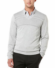 Perry Ellis Men's Size Small Heather Grey Herringbone Long Sleeve V Neck Sweater