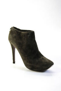 Walter Steiger Womens Rounded Toe Green Suede Stilettos Ankle Boots Size EUR 39