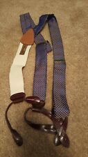 TRAFALGAR GEOMETRIC SILK BRACE SUSPENDERS MULTI COLOR ONE SIZE GOLD CLINCHES NEW