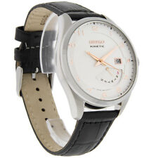 Seiko Kinetic Day/Date Sport Mens White Dial Black Leather Strap Watch SRN049