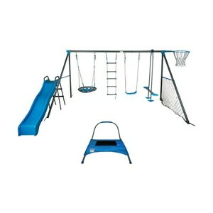 Swing Set 8 Station Glider Slide Playground Backyard Outdoor Play Kids BRAND NEW