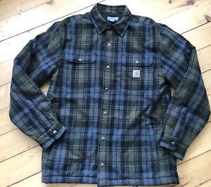 Carhartt Mens Shirt Jacket Gray Green Plaid Snap Fleece Lined Medium