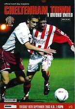 Football Programme>CHELTENHAM TOWN v OXFORD UNITED Sept 2003