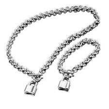 New Women Silver Stainless Steel Chain Love Locks Toggle Necklace Bracelet Set