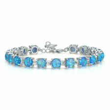 EXQUISITE  BLUE FIRE OPAL  BRACELET 7""