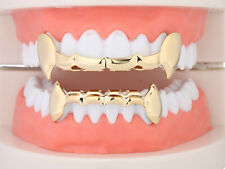 Grillz Vampire Fangs Dental Grill Teeth 14K Gold/Silver plated Top&Bottom w/mold