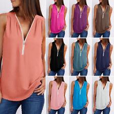 Summer Women Casual Vest Tops Sleeveless Blouse Zipper Tank Tops Shirt Plus Size