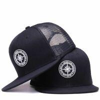 Cool Hip Hop Baseball Hat Adjustable Mesh Snapback Cap Men Women Black Flat Brim