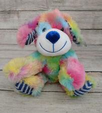 "Nanco Plush Tie Dye Dog Puppy Rainbow Sherbert Lovey New NWT 8"" Knit Feet Cute"