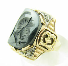 "Excellent Vintage 10k Gold Hematite Intaglio Diamond ""Gothic"" Ring Size 11.5"