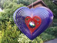 """12""""/30cm Gazing Ball Heart Wind Spinner Suncatcher Twister Hook Garden Iron Stop"""