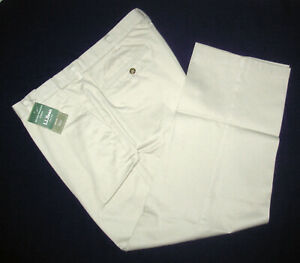 L.L.Bean Men's Khaki Chino Pants 38 w 29 insm Plain Front Hidden Comfort Waist