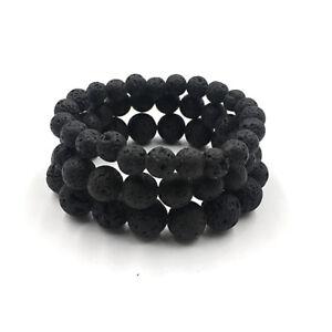 Man Natural Black Lava Stone Rock Volcanic Round Bead Elastic Diffuser Bracelets