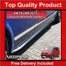 VW T6 TRANSPORTER LWB SPORTLINE ANGLED TRAPEZOID SIDE BARS OEM STAINLESS CHROME