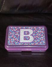 Justice Girl's Pencil Case/Box Initial B Hard Purple W/ Glitter And Rhinestones.