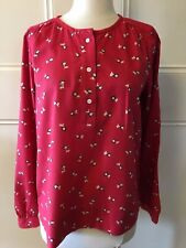 TRENERY Tomato Red Mini Blossom Long Sleeve Collarless Relaxed Fit Shirt Top XS