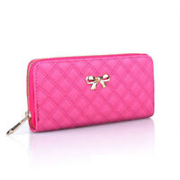 Fashion Womens Leather Wallet Bowknot Clutch Zip Card Holder Long Purse Hand Bag