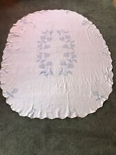 Vintage CROSS STITCH in Blue Linen Tablecloth Thistle Pattern