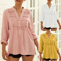 Women Casual Solid Color Linen V-Neck Long Sleeve Blouse Shirt Loose Button Tops
