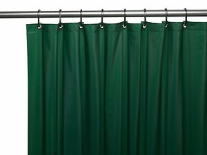 "HUNTER GREEN Vinyl Shower Curtain Liner: Metal Grommets, Magnets, 72"" Long"
