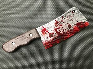 Fake Plastic Knife Butchers Meat Cleaver Halloween Prop Decoration Weapon Bloody