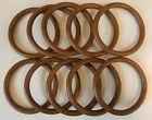 "Lot of 10 Vintage Brown Plastic Faux Wood Grain 4"" Round Macrame Craft Rings"