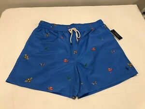 NWT $75.00 Polo Ralph Lauren Mens Classic Swim Trunks Blue / Insect Size XXL