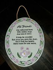 Ceramic oval hanging wall decor plaque ''All friends welcome''
