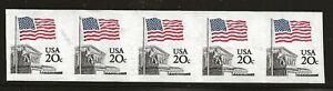 US Scott #1895d, Imperf Coil of 5 1981 Flag 20c VF MNH
