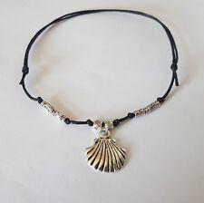 Boho sea shell Anklet ankle bracelet beach silver black  festival string cord