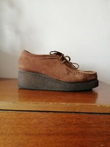 Clarks Wallabees Wedges Ladies size 6 39 Brown Suede