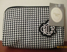 CHRISTIAN DIOR - Vintage Houndstooth TRAVEL Toiletry & Makeup Bag - NOS