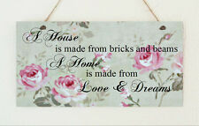 House Warming Plaque Distressed Love & Dreams Gift Sign Mother's Day Home Sweet