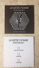 """Tres Jolie carte Parfumée """"La Nuit De L'homme De Yves Saint Laurent"""