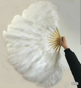Genuine white Ostrich Feather Fan With Case. Width open 42 inches. Height 2 feet