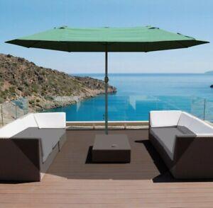 ^ Sun Umbrella Canopy Double-side Crank Sun Shade Shelter 4.6M Dark Green  25!1