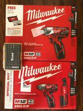 "Milwaukee 2591-22 M18/M12 Fuel Auto Kit - 3/8"" Ratchet / 1/2"" Mid Torq New"