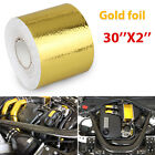 """2"""" 30FT Gold Intake Heat Reflective Tape Wrap Self-adhesive High Temperature US"""