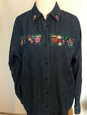 KAREN SCOTT Womens Blue Jean Denim Christmas Holiday Winter Shirt Embroidery