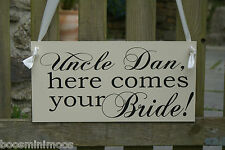 Here comes the bride Personalised sign plaque Wedding photo prop - any colour