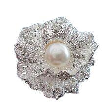 Decorazione Nuziale Sposa Argento Con Bianco Fiore Perla Brillante Spilla BR65