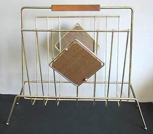"Mid Century Modern Gold Steel Wire Magazine Rack Stand Woodgrain19x16x9"" FREE SH"