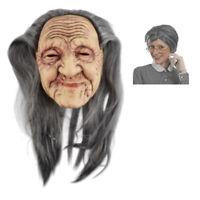 Oma Maske alte Frau Hexe Zauberin Haare Halloween  Karneval Verkleidung Zubehör