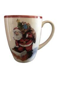 Set Of Three Pottery Barn Painted Santa Claus Dinnerware Christmas Coffee Mugs