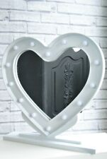 Mirror White Heart Shaped Dressing Table Mirror with LED Lights and stand Fre...