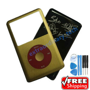 Gold Faceplate & Black Housing Back Cover for iPod Video 80 Classic 6 7th 160GB