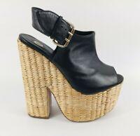 River Island Black Leather High Heel Platform Shoes UK 5 EU 38